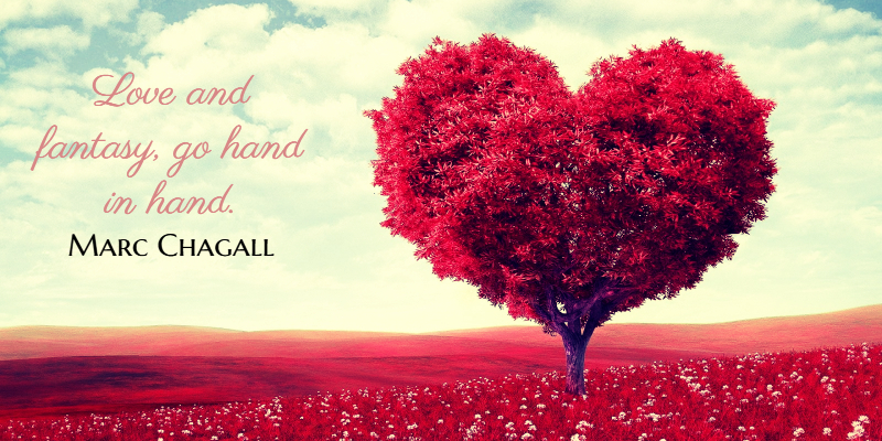 a heart-shaped tree in a field of redness